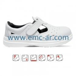 Sandale de protectie albe cu bombeu metalic SIBARI  S1