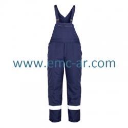 Pantalon de iarna cu pieptar si benzi reflectorizante PILZEN BLUE   (-B -R)