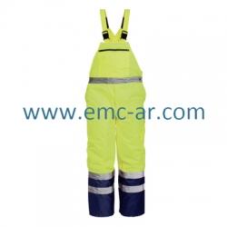 Pantalon cu pieptar impermeabil de iarna reflectorizant (galbena) DENMARK