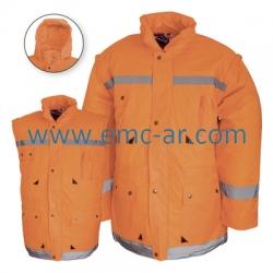 Scurta din material peliculizat de iarna cu benzi reflectorizante (portocalie) LONDON
