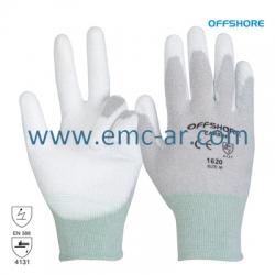 Manusi tricotate cu fir antistatic impregnate cu PU pe palma si degete Carbon