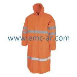 Pelerina de ploaie din poliester peliculizat cu benzi reflectorizante (portocalie) TRINIDAD
