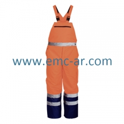 Pantalon cu pieptar impermeabil de iarna reflectorizant (portocalie) NORWAY